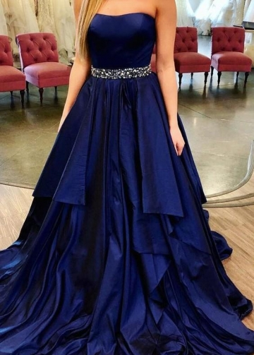 Strapless Navy Blue Long Party Dresses for Prom Online