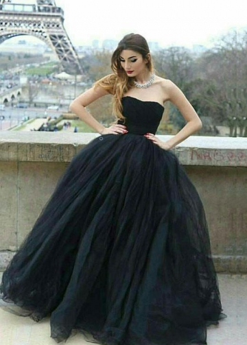 Strapless Open Back Black Prom Ball Gown Dresses with Tulle Skirt
