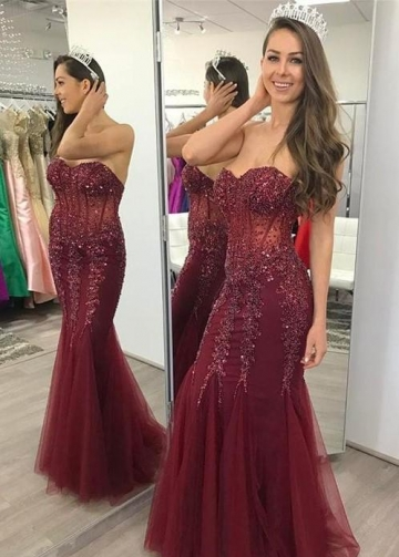 Sweetheart Beaded Lace Burgundy Fit&Flare Prom Gown Backless