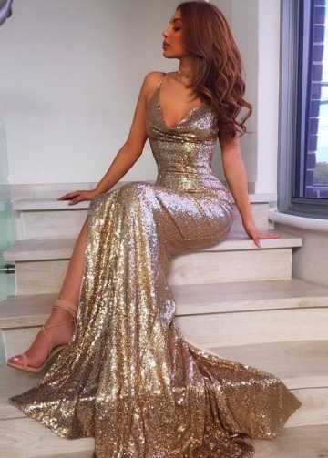 Sexy Backless Sequin Gold Prom Dresses Custom Made