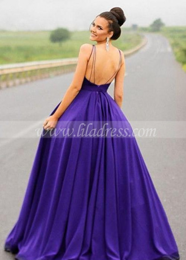 Sleeveless Satin Backless Purple Prom Gowns Online