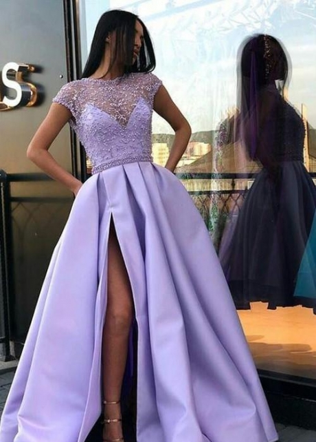 Sheer Crystals Lavender Evening Prom Dress with Cap Sleeves