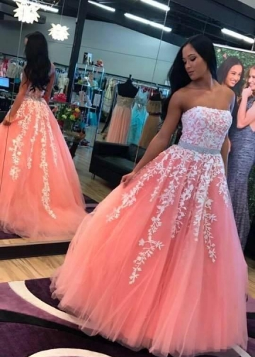 Strapless Floral Lace Coral Prom Dresses with Stones Belt