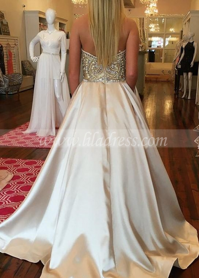 Sweetheart Open Back Rhinestones Prom Dresses Satin Skirt