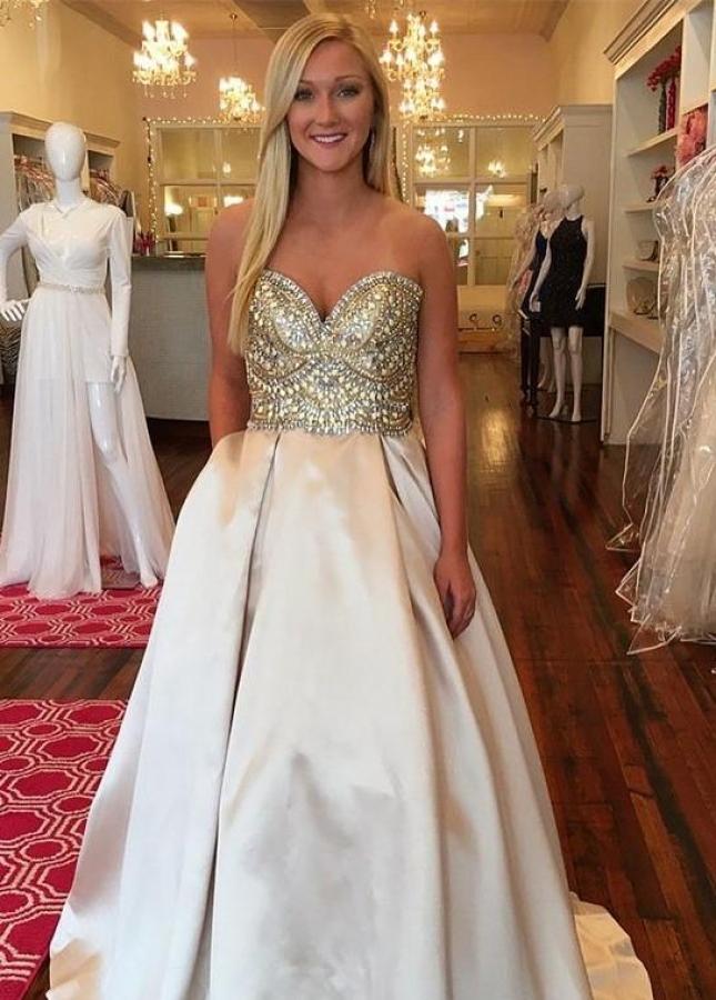 Sweetheart Open Back Rhinestones Prom Dresses Satin Skirt