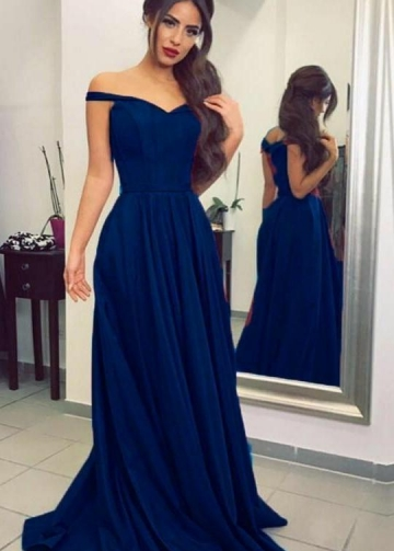 Simple Dark Blue Prom Long Dresses with Off-the-shoulder