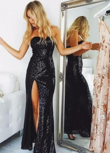 Sweetheart Black Sequins Prom Dresses Slit Side