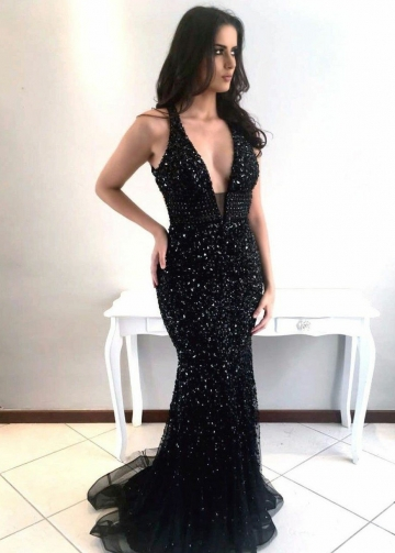 Sexy V-neckline Sequin Black Prom Dress with Rhinestones Bodice