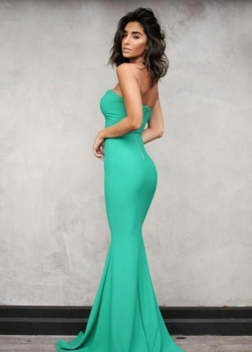 Sweetheart Green Backless Sexy Prom Dresses Long