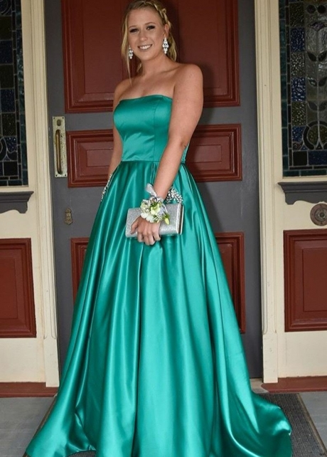 Strapless Satin Backless Green Prom Long Dress with Stones Pockets