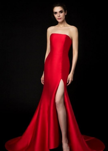 Satin Strapless Red Evening Gown Mermaid Style