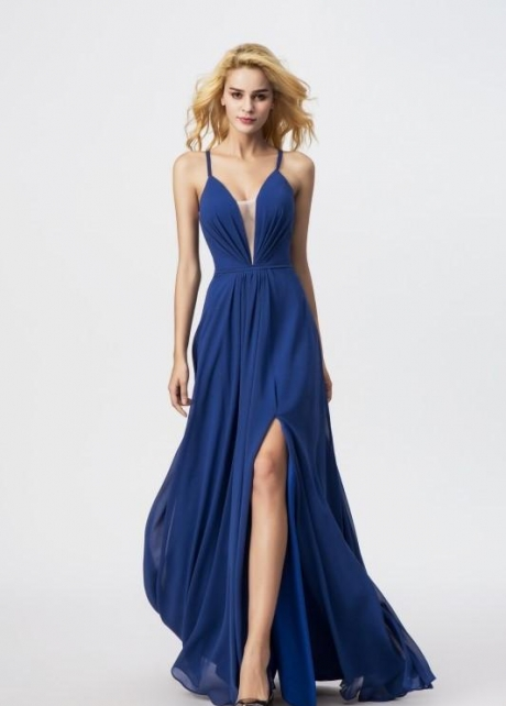 Strappy Blue Chiffon Prom Gowns with Plunging Neckline