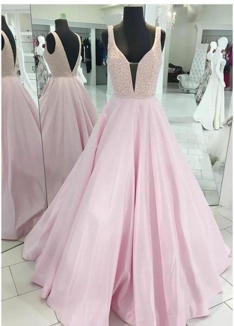 Satin Pink Evening Dresses with Rhinestones Bodice