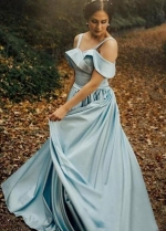 Satin Light Blue Prom Gowns with Folded Neckline