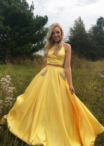 Satin Yellow Two Piece Prom Dresses with Rhinestones Pockets