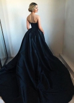 Sweetheart Satin Black Ball Gown Prom Dress with Chapel Train