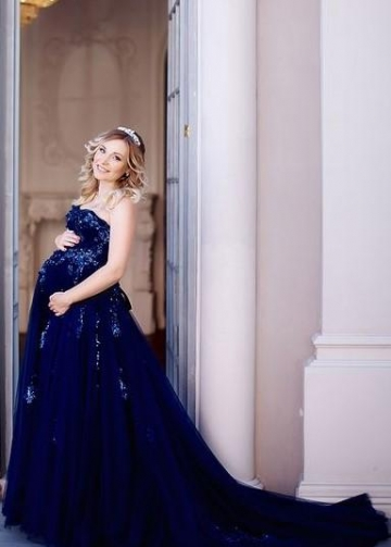 Sequined Details Maternity Gown Photography Long Tulle Dress for Wedding Baby Shower