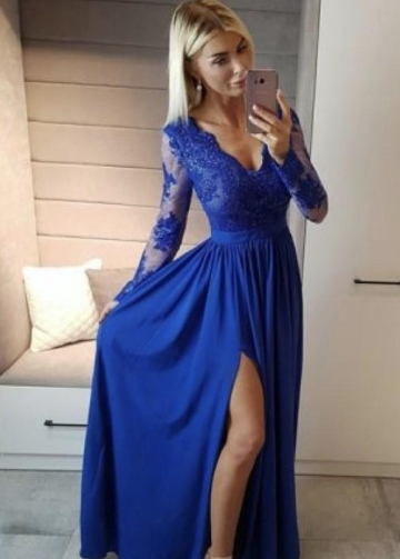 Sheer Long Sleeves Prom Dress with Lace V-neckline