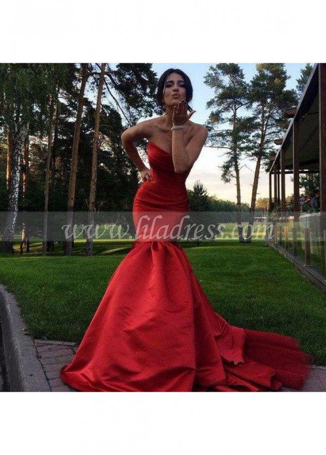 Satin Strapless Red Mermaid Dress for Prom with Open Back