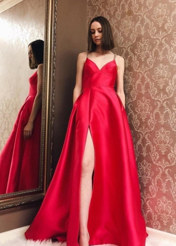 Satin Red Evening Dress Formal Wear Gown with Double Straps