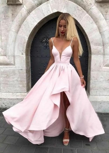 Spaghetti Straps Pink Prom Gown with Irregular Skirt