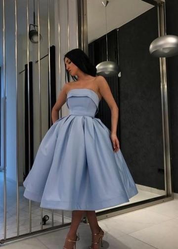 Strapless Blue Short Ball Gown Prom Wear Dresses