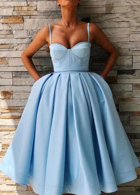 Short Sky Blue Prom Dresses Sweetheart Satin Skirt