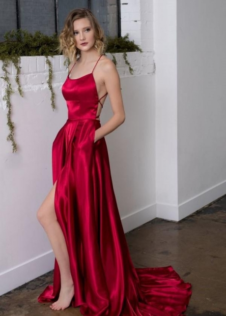 Square Neck Formal Prom Gowns with Double Pockets