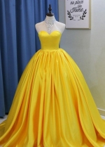 Sweetheart Yellow Prom Ball Gown with Satin Skirt