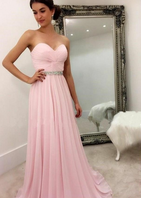 Sweetheart Chiffon Pink Formal Party Dress with Rhinestones Belt