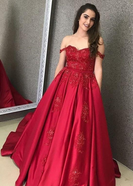 Satin Red Evening Gown with Beaded Lace Bodice
