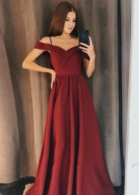 Simple Burgundy Evening Gown with Off-the-shoulder