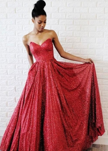 Sweetheart Red Sequin Prom Dress 2020 Styles