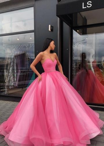 Sweetheart Prom Ball Gown Dresses Tulle Skirt Satin Inside