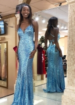 Sky-blue Sequin Prom Dresses with Strappy Back