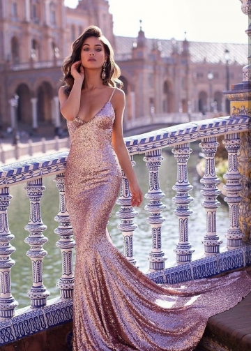 Shimmering Sequins Mermaid Evening Dresses with Double Straps