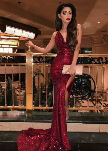 Sequins Brugundy Prom Dress with Drapped Neckline