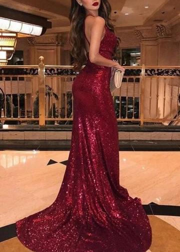 Sequins Brugundy Prom Dress with Drapped Neckline