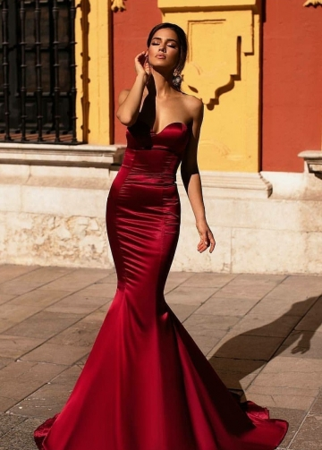 Sweetheart Dark Red Evening Dress Mermaid Train