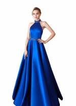 Satin Royal Blue Prom Dress Beaded Halter Neckline