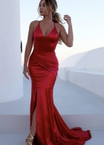 Side Slit Red Mermaid Prom Dresses with X Backless