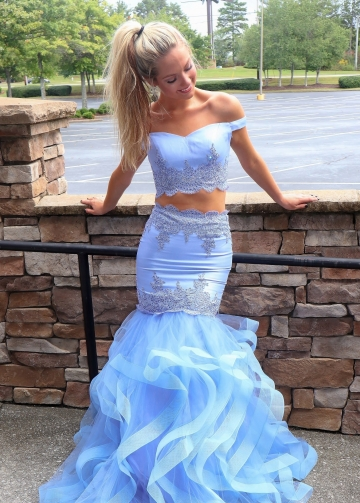 Satin Tulle Two-piece Light-Blue Prom Dresses with Layers Skirt