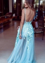 See-through Floral Lace Prom Dress with Deep V Neckline