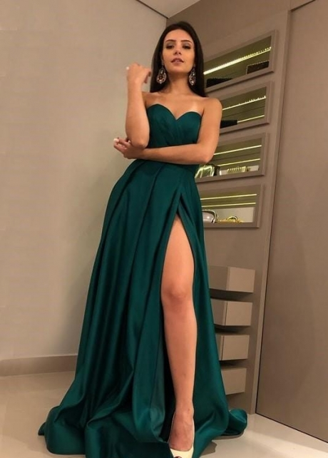 Sweetheart Hunter Green Prom Dresses with High Thigh Slit