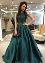 Sleeveless Dark Green Formal Evening Gown with Beaded Belt