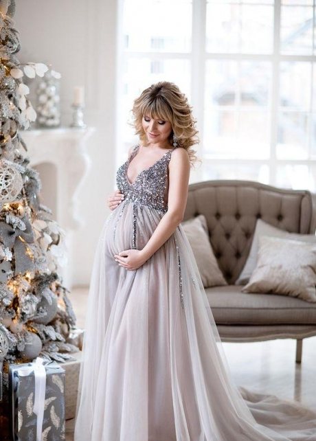 Sequin Maternity Dresses Baby Shower Gowns with Tulle Skirt