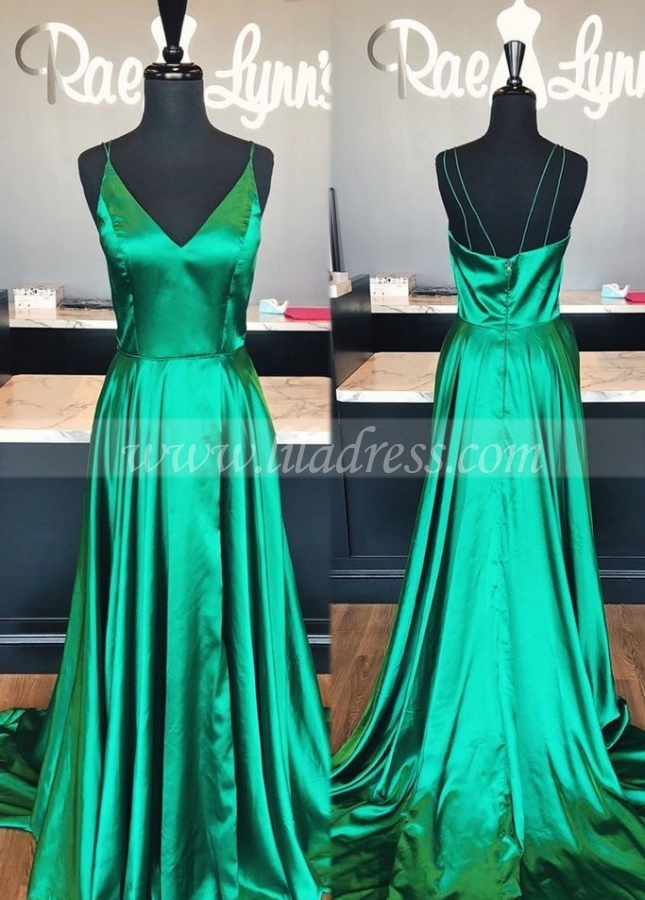 Side Slit Maxi Long Prom Dresses with Spaghetti Straps