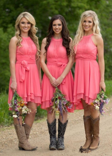 Sleeveless A-line Chiffon Watermelon Bridesmaid Dress Short