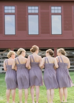 Single Shoulder Purple Chiffon Short Bridesmaid Dress Under $100