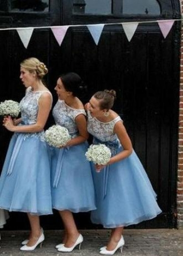Sheer Lace Bodice Blue Bridesmaid Gown Tea-Length